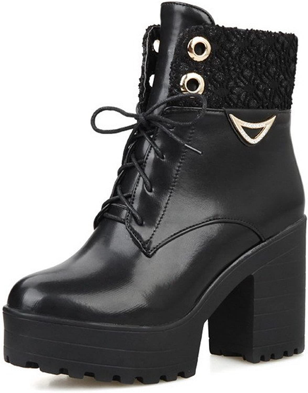 WeenFashion Women's Lace-Up Closed Round Toe High-Heels PU Low-Top Boots