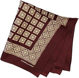 ポケットチーフ シルクチーフ メンズ 紳士 英国製 Silk ターンブル&アッサー Turnbull&Asser 大判 ツイル ジオメ Burgundy/White Size45x45cm C017