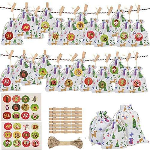 SunAurora 24 Calendario Dell'avvento, Sacchetto Regalo Calendario Natalizio Fai-da-Te, Sacchetti Regalo Riutilizzabili con Coulisse per Matrimoni, Feste, Compleanni