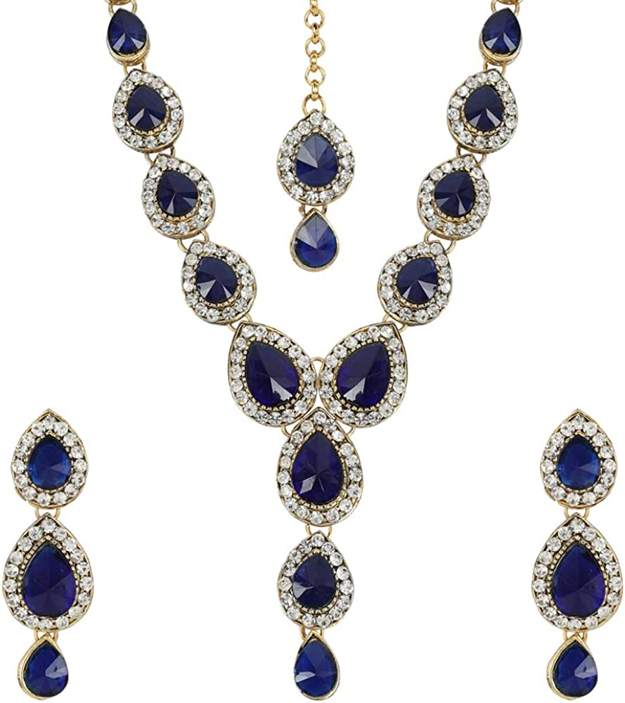 MUCH-MORE Indian Traditional Crytsal Necklace Earrings Set Ethnic Wedding Party Jewelry for Women
