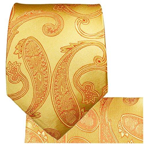 Cravate homme or paisley ensemble de cravate 3 Pièces ( longueur 165cm )