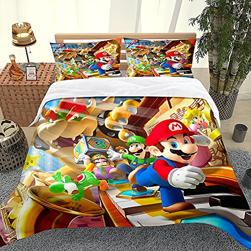 XCMMK Copripiumino 3D Super Mario Mario Brothers and Princess Set copripiumino e federa per letto singolo, matrimoniale, king e king size,1 copripiumino(135cm x 200cm)+ 1 federe(50cm x 75cm)