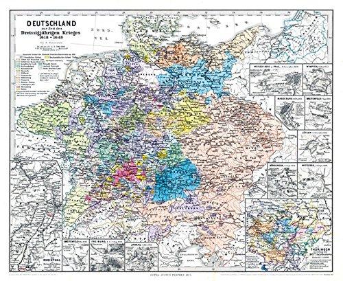 Historische Karte: DEUTSCHLAND zur Zeit des Dreissigjährigen Krieges. Dreißigjähriger Krieg 1618-1648 (Plano)