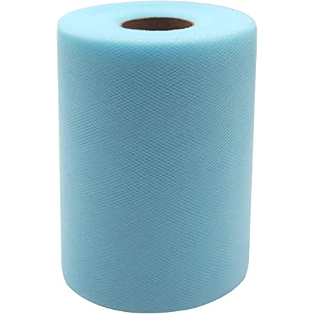 300 feet Baby Blue Tulle Fabric Rolls 6 Inch by 100 Yards Tulle Spool for Wedding Party Decorations Gift Bow Craft Tutu Skirt