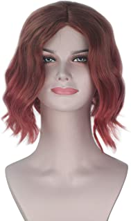 Miss U Hair Lady Ombre Copper Gradient Red Short Wave Hair Cosplay Wig Adult Girl