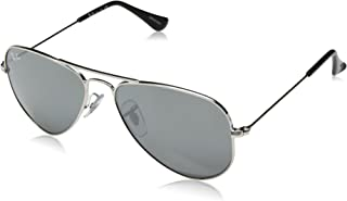 Kids' RJ9506S Aviator Kids Sunglasses, Shiny Silver/Grey Mirror, 52 mm