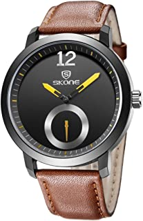 Morden 5015 Modern Simple Round Dial One Decoration Dial Fashion Men Quartz Watch with PU Leather Band (Color : Coffee)
