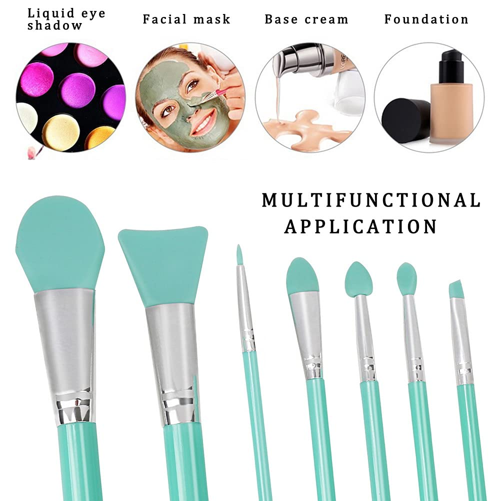 7 Pieces Silicone Makeup Brushes, Facial Brushes Cosmetic Brush for Face Care Eyeliner Eyebrow Eye Shadow Lip Care