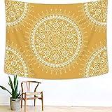 Arfbear Bohemio Tapiz, Mandala Hippie Popular Tapiz de Pared Cálido Golden Amarillo Beach Blanket Grande 78.7 x 59 Pulgadas