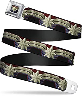Belt Seatbelt Buckle Captain Marvel 2019 Star Icon Stripe Black Reds Golds Blues 24 to 38 Inches