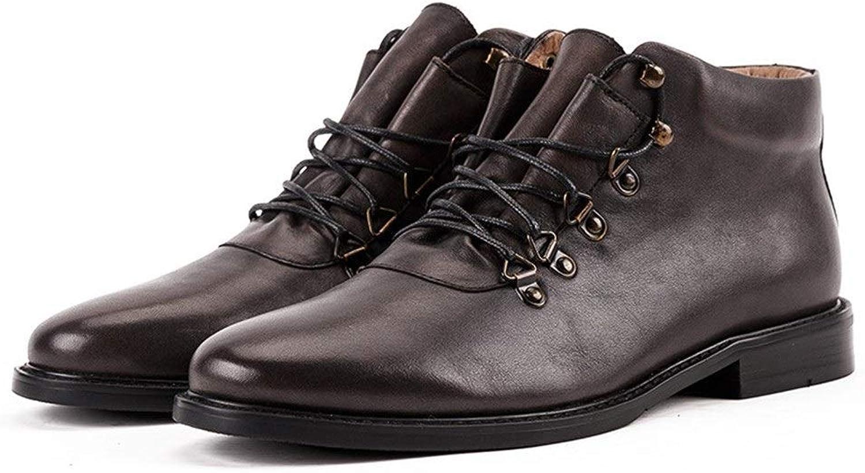 Men's shoes NonSlip Men's shoes Handmade Men's Leather Boots Leather Boots Trend British Wind (color   Black, Size   7UK)