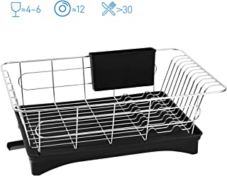 BESTONZON Dish Drying Rack - Premium 304 Stainless Steel Dish Drainer with Removable Cutlery Holder and Drainboard with Adjustable Swivel Spout