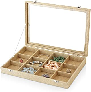 YIWU Earrings and Rings Box - Rings Holder, Earrings and Cufflinks Organizer with Glass Lid (12 Slots) (Beige)
