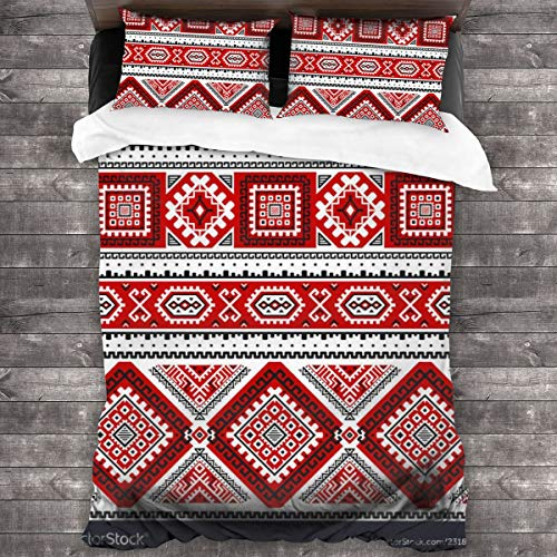 Qing_II Juego de cama de 3 piezas, diseño étnico sin costuras con color negro, blanco, rojo, 1 juego de funda de edredón de microfibra suave, 1 funda de edredón (86 x 70 pulgadas) y 2 fundas de almohada (20 x 30 pulgadas)