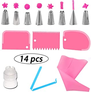 Luxtrip 14Pcs Cake Decorating Supplies Kit Cake Baking Tools Cupcake Icing Tools Pastry Tools Russian Piping Tips Nozzles, Pastry Bags, Couplers, Scrapers (pink)