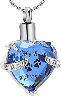 constantlife Cremation Jewelry for Ashes, My Best Friend Heart Shape Memorial Urn Necklace Stainless Steel Crystal Pendant Ashes Holder Keepsake
