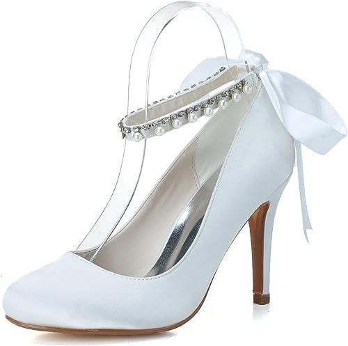 L@YC zapatos De Boda Femeninos zapatos De Noche De Fiesta De Seda De TacóN Alto con Punta Cerrada KY-5623-04