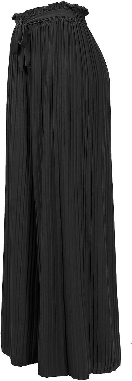 Design by Olivia Women's Ribbon Tie Chiffon Loose Pleated Wide Leg Palazzo Pants
