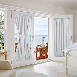 NICETOWN Room Darkening Patio Door Panel - Room Darkening French Door Thermal Blackout Curtain/Drape/Drapery (54 inches Width x 72 inches Length, Platinum-Greyish White, 1 Panel)