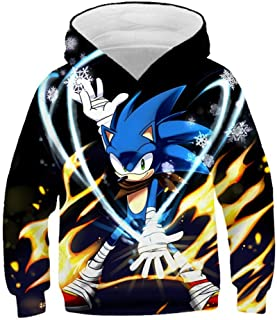 NOBRAND 3D Sonic Printed Hoodie Sweatshirts Long Sleeve Pullover for Boys and Girls, Casual Fashion Funny Fans Cosplay Top...