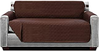 Best Sofa Shield Original Patent Pending Reversible Loveseat Protector, Many Colors, Seat Width to 54 Inch, Furniture Slipcover, 2 Inch Strap, Couch Slip Cover Throw for Pets, Dogs, Love Seat, Chocolate Review