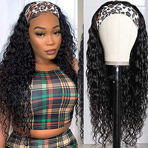 Glueless Band Quick Wig Water Wave Human Hair Wig Brazilian Remy Water Wave Curly Headband Wig Natural Color Machine Made Wigs Hair Band Wet Wavy Hair Headband Wigs for Black Women