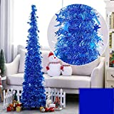 Artificial Christmas Tree Metal Stand, Glittery Tinsel Christmas Tree, 4Ft Collapsible Xmas Trees with Plump Sequin for Holiday Decor - Easy to Assemble (Blue)