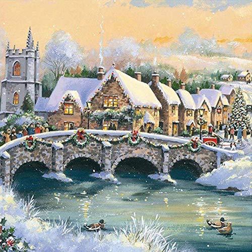 Murtall winterlandschap diamant schilderij DIY 5D diamant borduurwerk winter kerstmis foto's strass mozaïek decoratie huis