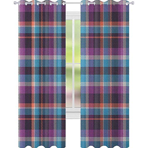 YUAZHOQI Checkered Window Curtain Drape Celtic Tartan Irish Culture Scotland Country Antique Tradition Tile Window Curtains for Living Room 52' x 95' Violet Pale Blue Salmon