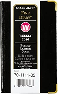AT-A-GLANCE Fine Diary 2016, Weekly / Monthly Pocket Diary, 12 Months, 2.88 x 4.88 Inches, Black (70-1111-05)