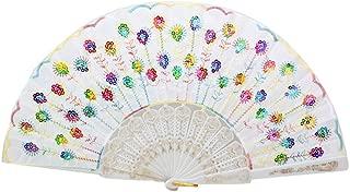 Embroidered Flower Folding Fan, Peacock Handheld Hand Fan Bulk for Women Wedding Dancing Party