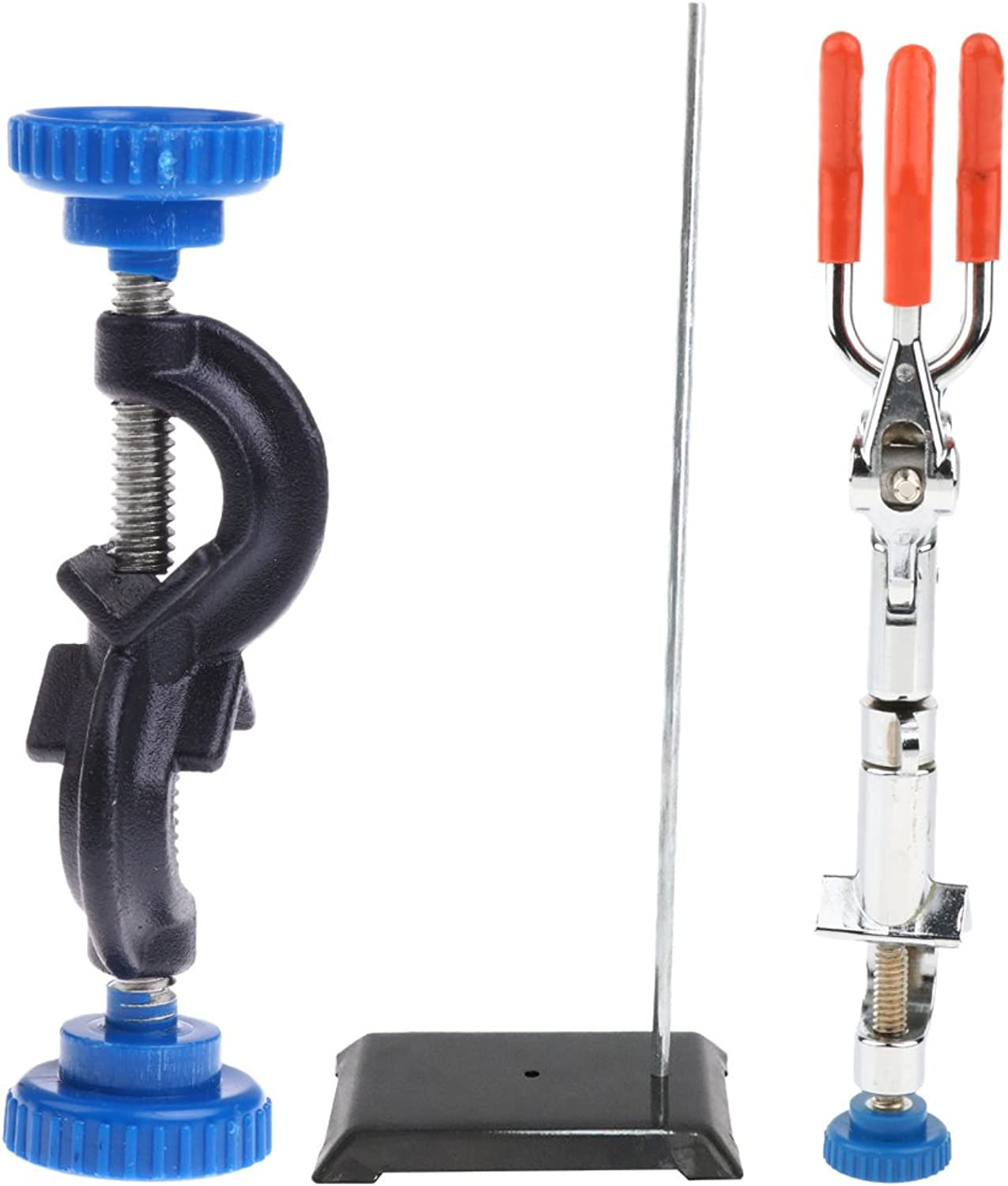 Baoblaze 19'' Meta Lab Bracket Support Stand + Flask Clip Clamp with Boss Head + Grip  as Shown, Clamp B 13mm