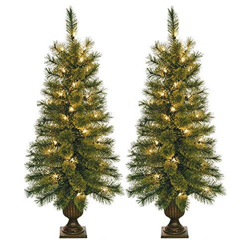 Jeco Pre-lite Christmas Tree, Set of 2, 3.5', Multicolored