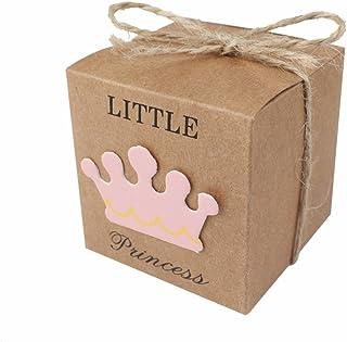 JZK 50 x Little Princess cajitas regalo papel kraft marrón