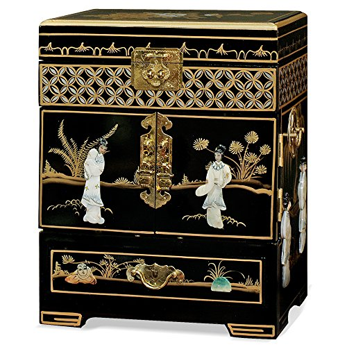 ChinaFurnitureOnline Wooden Chinese Jewelry Chest, Black Lacquer Chinoiserie with Pearl Maidens