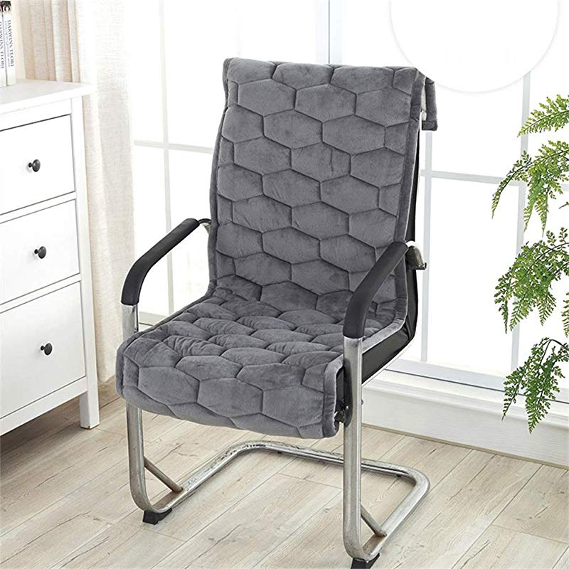 XFXDBT Restaurant Chair Chair Pads One Piece Chair Pad With Ties Office Seat Pads Garden Chair Pads Patio Armchair Chair Is Not Included Gray 45x145cm 18x57inch