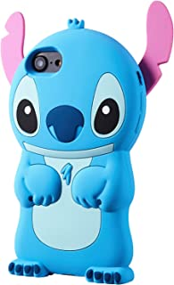 Allsky Case for iPhone SE/5C/ 5/ 5S Cartoon Soft Silicone Cute 3D Fun Cool Cover,Kawaii Unique Kids Girls Teens Animal Character Rubber Skin Protective Shockproof Funny Cases for iPhone5 Blue Stitch