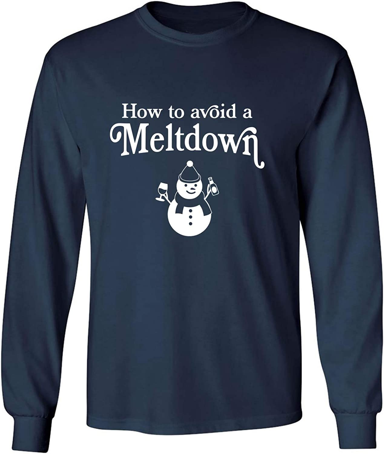 How to Avoid A Meltdown Adult Long Sleeve T-Shirt in Navy - XXXXX-Large