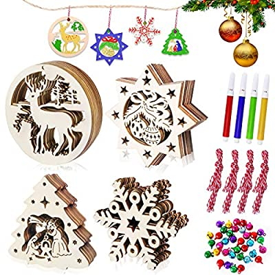 Vsadey 40 Pieces Wooden Christmas Ornaments Unf...