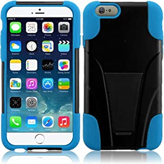 HR Wireless T-Stand Cover Case for Apple iPhone 6 Plus - Retail Packaging - Black/Sky Blue