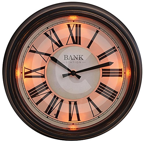 "Gardman LED-Uhr""Bank Station"", dunkel braun, 36x7x36 cm, 17216"
