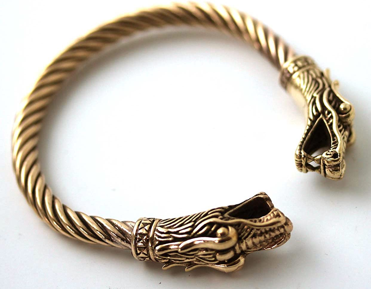 Bronze Norse Viking Dragon Head Twisted Cable Bangle Cuff Bracelet Arm Ring Pagan Jewelry