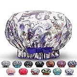 Waterproof Reusable Women Shower Caps XL 100% Cotton Print Bath Caps Hat Long Hair Perfect for Women (Purple Flowers)