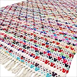 EYES OF INDIA - 4 X 6 pieds coloré Zone tissé chiffon Chindi Tapis décoratif multicolore blanc Bohème Accent Tressé Boho Chic indien fait à la main Handwoven