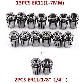 TOPQSC Juego de pinzas ER11 13 piezas Juego de pinzas para collar ER11 Husillo CNC 1-7MM Pinza de resorte ER-11 para m/áquina de grabado CNC y portaherramientas de torno de fresado