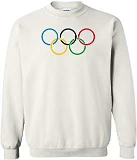 Olympic Rings Logo Crewneck Winter Sports Fleece Sweatshirt White