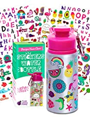 Super Fun Water Bottle Craft Kit!! This kids water bottle comes with 6 sheets of super cute stickers in adorably kid-oriented on-trend designs plus another sheet of glitter gem stickers with 300 individual rhinestone style stickers gives your little ...