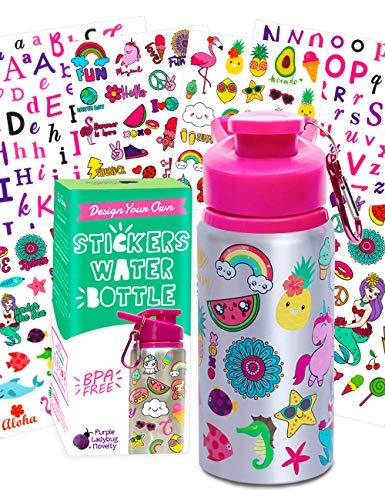 Purple Ladybug Decora tu Propia Botella Agua para Niñas con Montones de Pegatinas Infantiles – Botella sin BPA 591 mL – Regalos Originales para Niños de Todas Las Edades – Set de Manualidades Niños