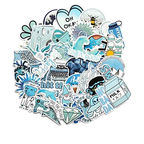 Ligoi 50 Piezas De Dibujos Animados Azul Vsco Girl Pegatinas para Computadora PortáTil Moto Skateboard Equipaje Refrigerador PortáTil PortáTil Juguete