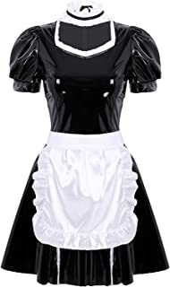 iiniim Women's Wet Look PVC Leather French Maid Costume Party Fancy Dress Cosplay Clubwear